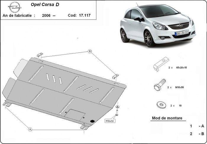 Scut metalic pentru motor Opel Corsa D 2006-2014 - otel 2mm