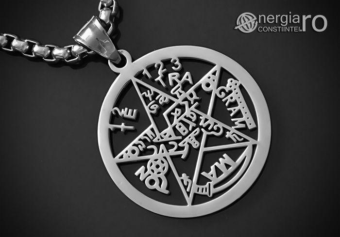 Pandantiv Pentagrama, Amuletă, Talisman, Pentaclu, Tetragrammaton INOX