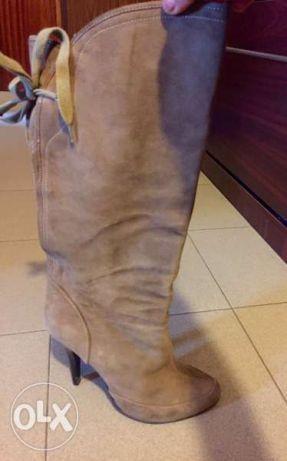 Дамски ботуши от естествен велур