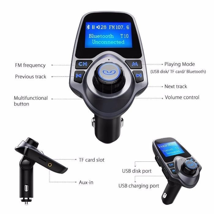 Bluetooth Fm Transmitter Modulator Car Kit USB Charger Auto MP3 T11