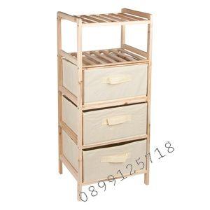 Дървена етажерка с текстилни кутии-32х26х72 см.