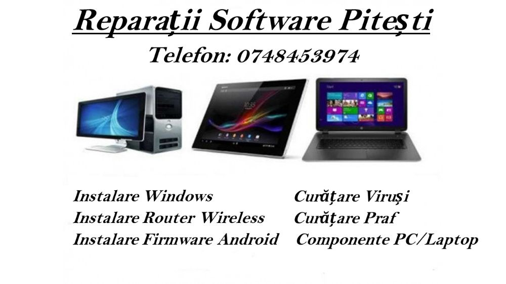 Instalare Windows, Router Wifi, Reparatii Telefoane Tablete Laptop PC