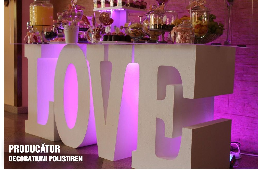 Masa CANDY BAR, LOVE, SWEET - 390 lei litere volum din polistiriren