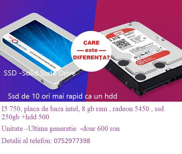 I5 750, placa de baza intel, 8 gb ram , radeon 5450 , ssd 250gb +hdd 5