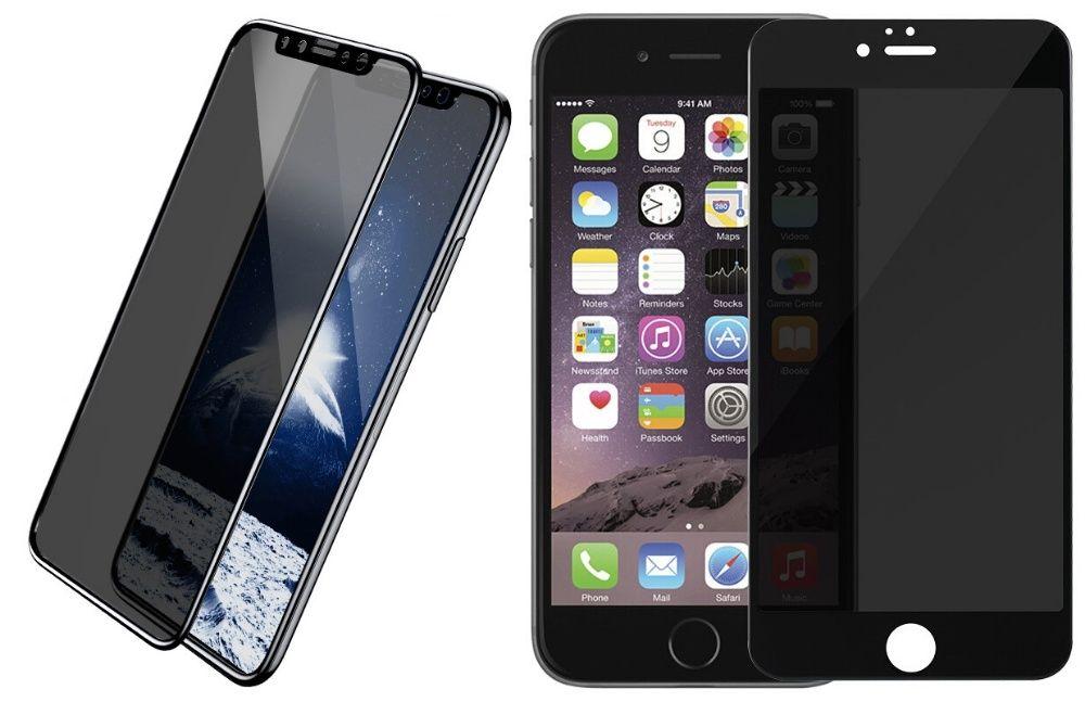 Iphone 6 6S+ 7 7+ 8 8+ X XS 10 Folie Sticla Curbata 6D Privacy Neagra