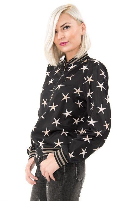 Jachetă aviator silonată cu imprimeu steluțe de mare - toate marimile