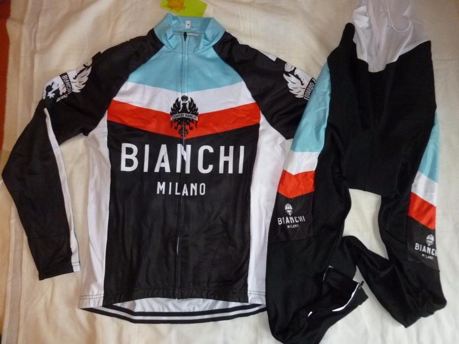 Echipament ciclism bianchi milano iarna toamna set nou negru Bluza