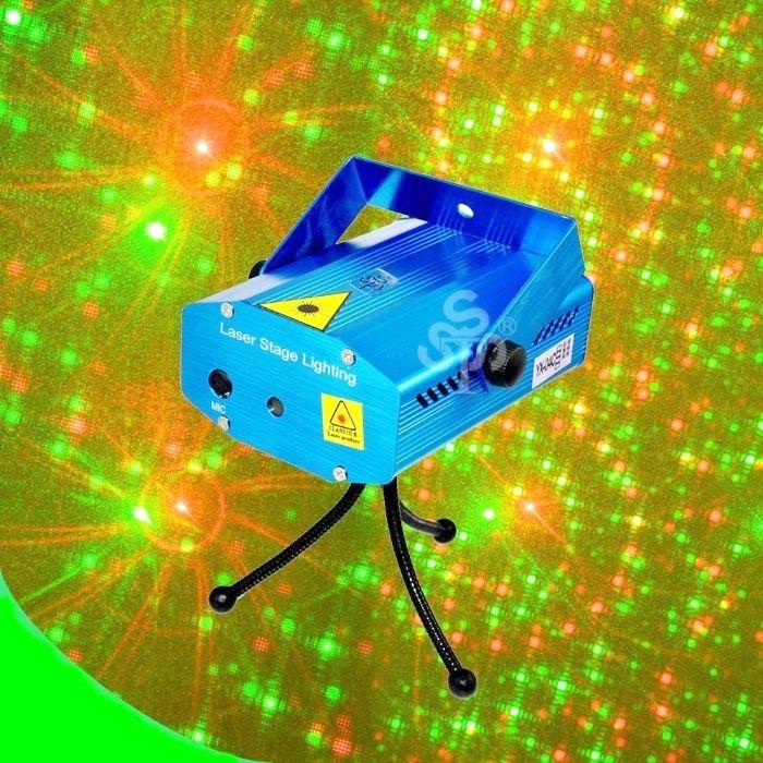 Laser stroboscop senzor muzica disco bar rosu si verde cu trepied