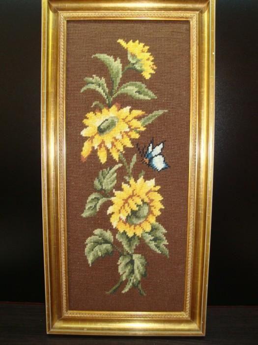 ARTA HAND MADE! Minunat goblen, motive florale,lucrat manual.