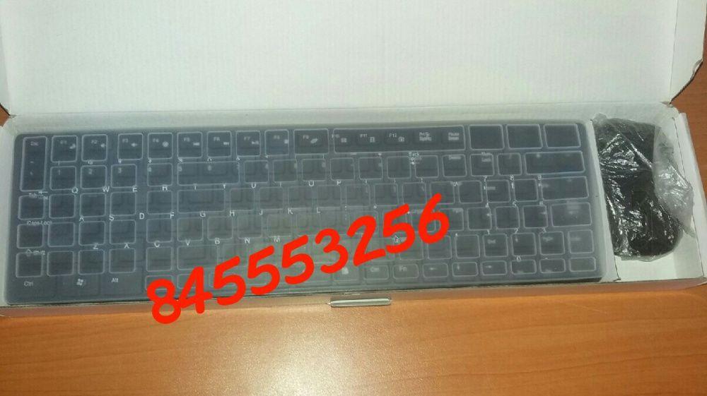 Kit de teclado e mouse wireless com protector de poeira