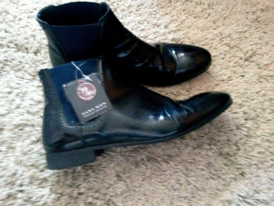 Botine Ghete Pantofi Barbati Men ZARA Negre Black Elegante PIELE M.41