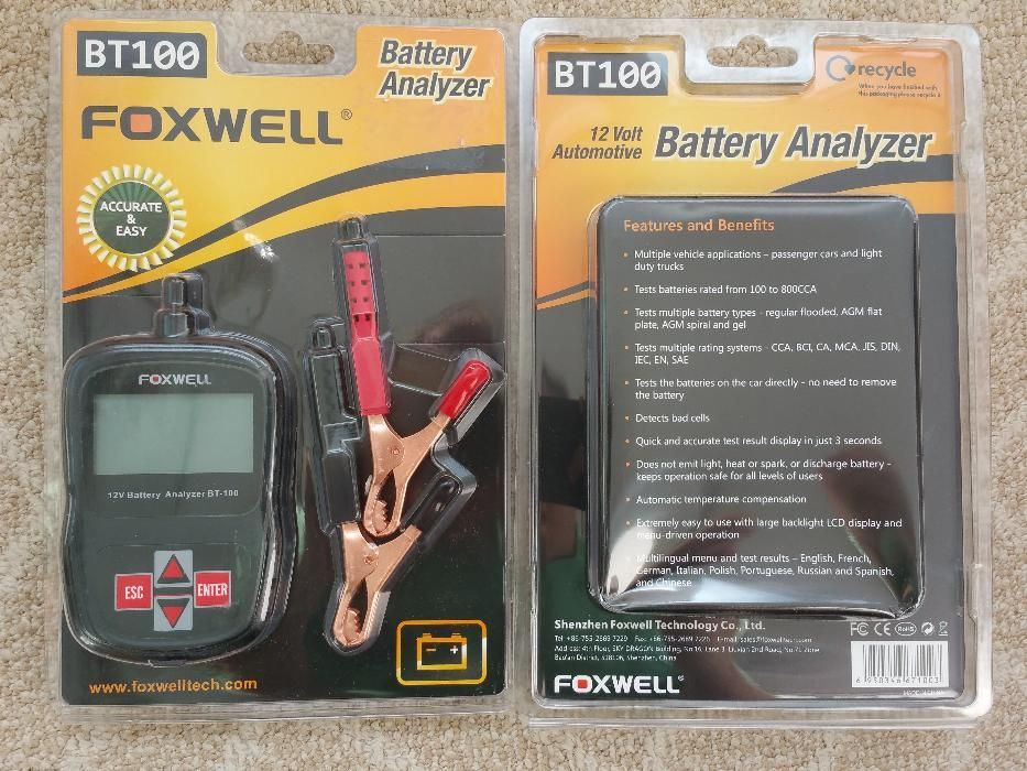 Tester digital baterii auto FOXWELL BT100 12V Car Flooded, AGM, GEL