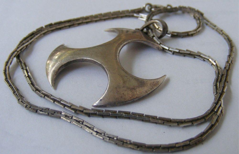 Lant vechi din argint cu medalion