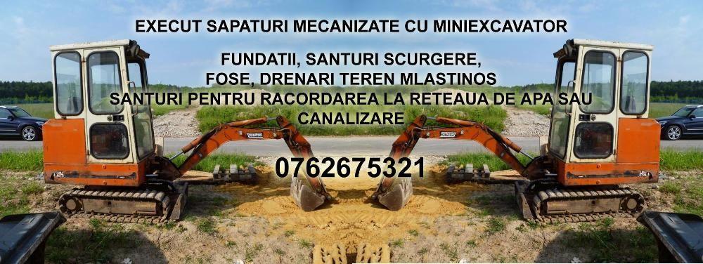 Sapaturi fundatii santuri apa canalizare cu Miniexcavator cupa/picon