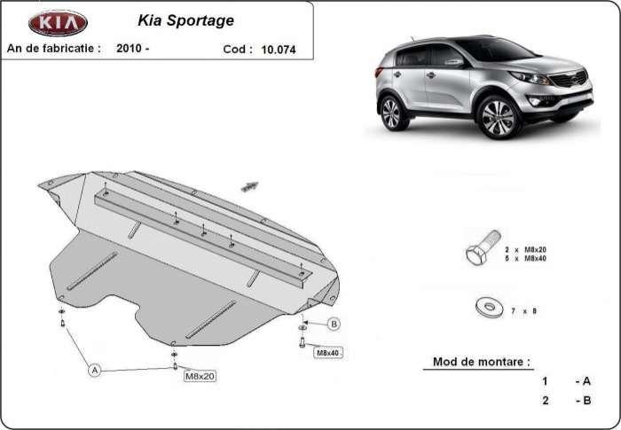Scut metalic pentru motor Kia Sportage 2011-2016 - otel 2mm