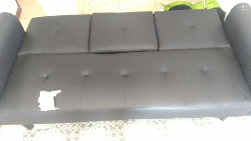 Sofá de 3 lugares, preto, faz de cama