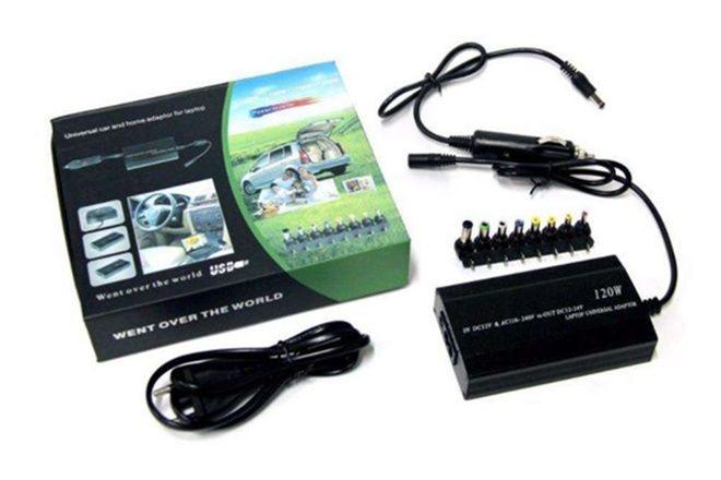 Автомобильная зарядка-блок питания для ноутбуков от 12 и 220 вольт