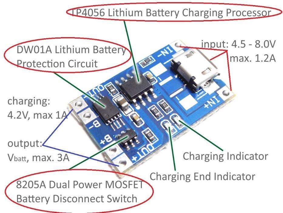 Modul incarcare-descarcare baterii Litiu 18650,1A TP4056 , micro USB