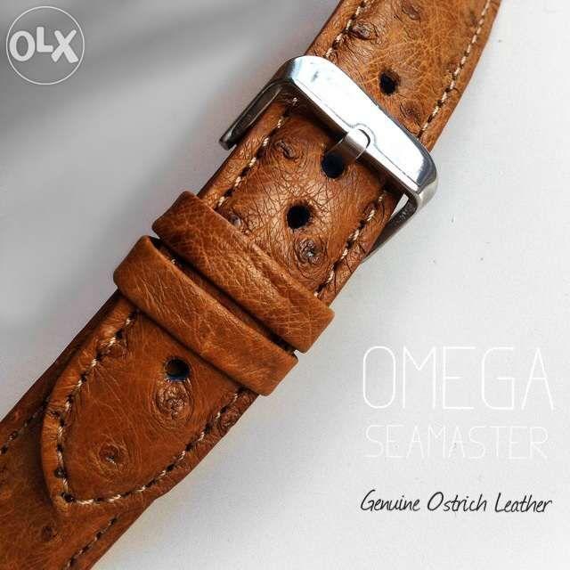 Omega Seamaster- curea de ceas din piele de strut- handmade