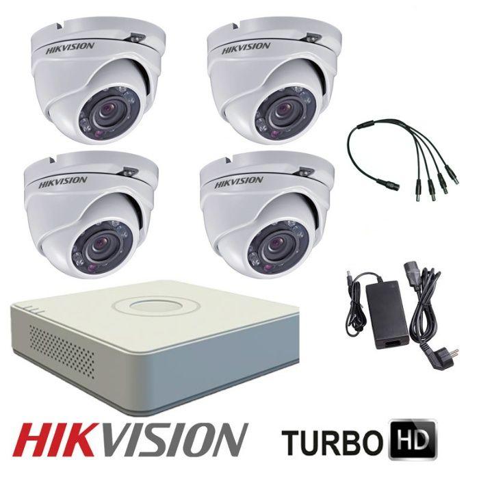 Комплект за видеонаблюдение с 4 HD-TVI камери HIKVISION + захр.