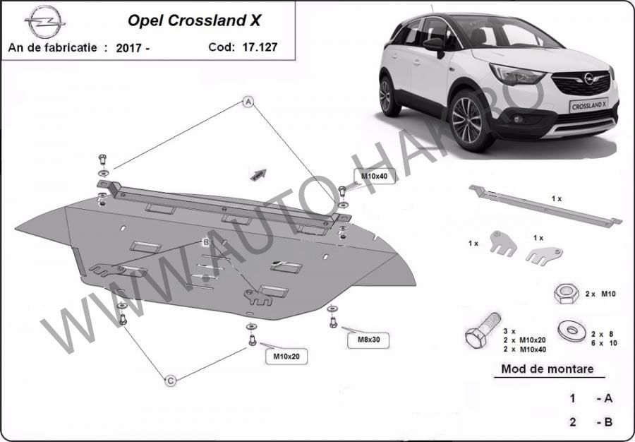 Scut motor metalic Opel Crossland X 2017-prezent - otel 2mm