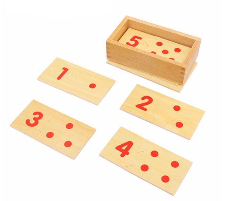 Математика пъзел Монтесори в кутия с плочки и карти за ранна възраст