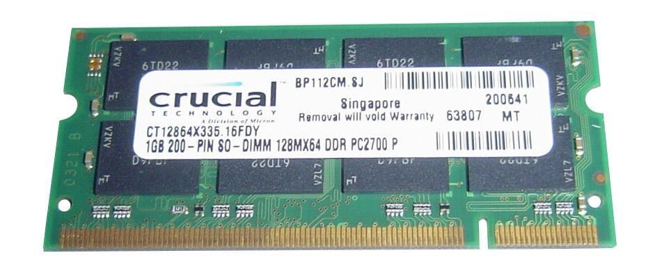 Memorie DDR 333Mhz Crucial 1Gb PC-2700 Micron MT16VDDF12864HY-335D2