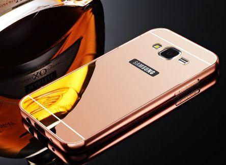 Carcasa din aluminiu cu oglinda rose gold pentru Samsung J1 2016 j120