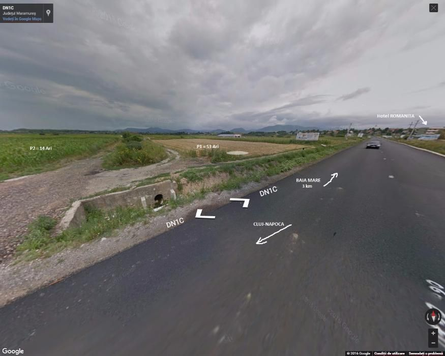 Vand teren 67 ari la DN1C com. RECEA BAIA MARE (zona ROMANITA)