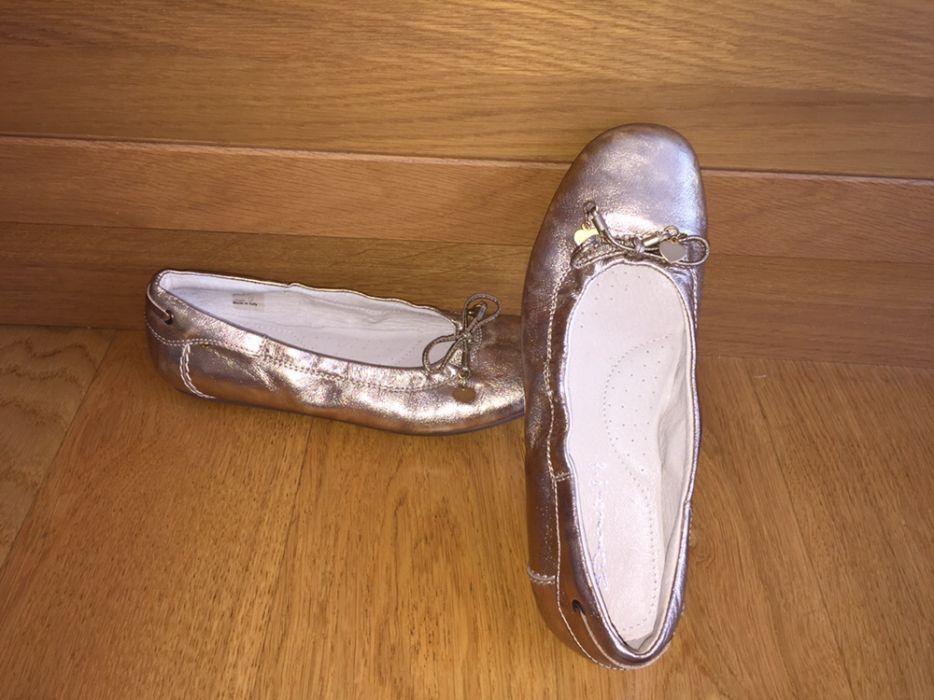 Abro balerini/mocasini piele naturala auriu aramiu maro