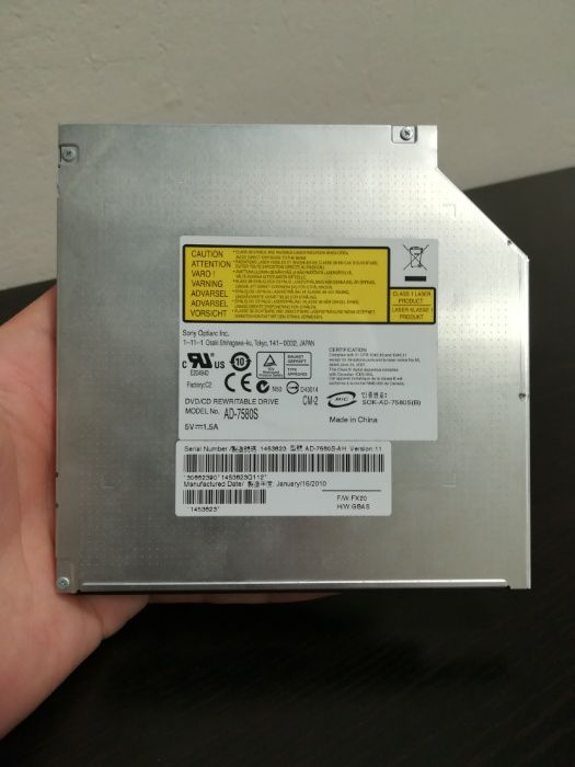Unitate DVD/CD RW AD7580S din laptop Asus k52JK