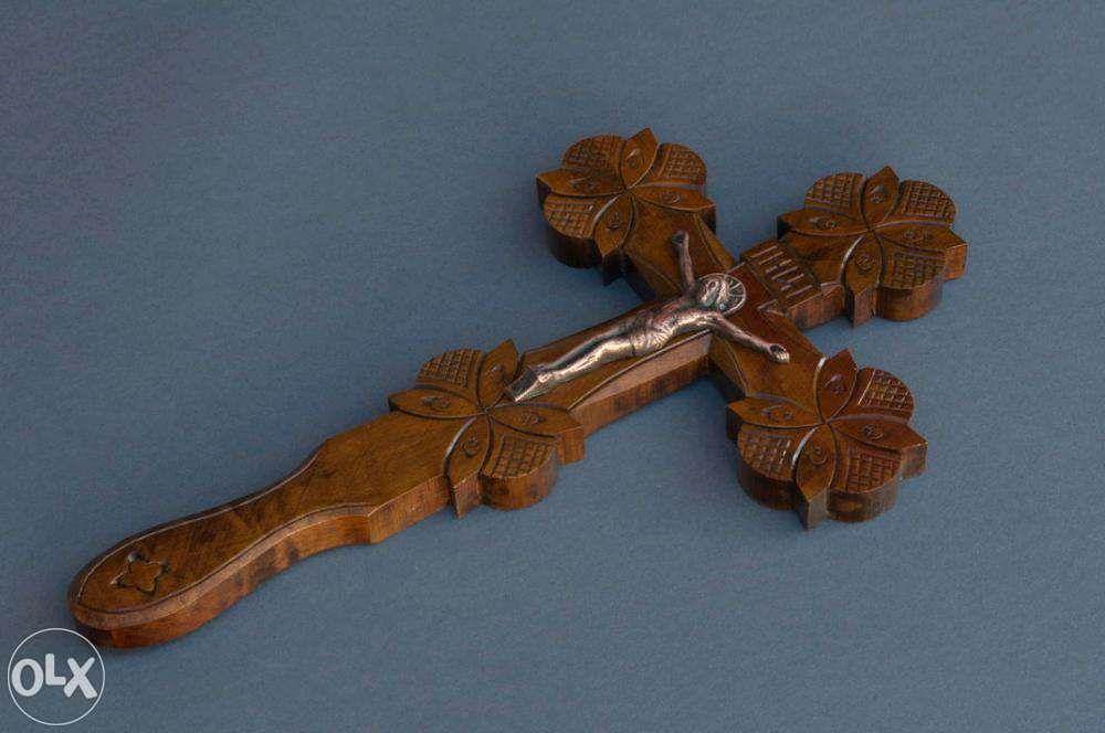Православный крест с распятием шестиконечный двусторонний в руку