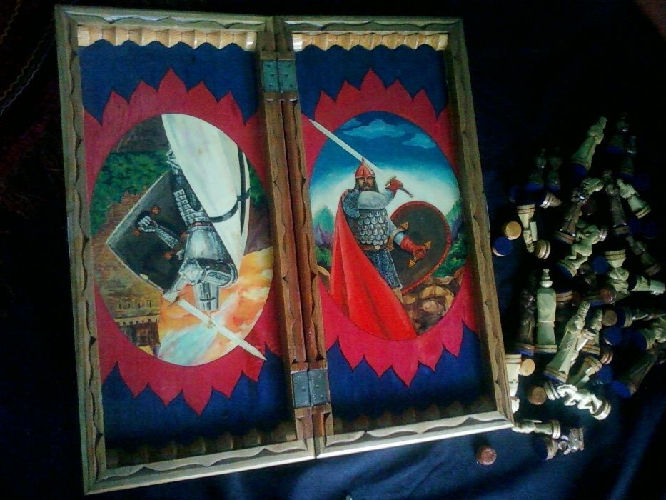 Шахматы и нарды УНИКАЛЬНЫЕ Ручная работа Рыцари крестоносцы и Богатыри