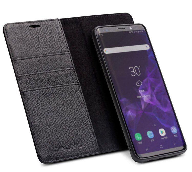 Husa 2 in 1 multifunctionala piele naturala Qialino, Samsung S9, negru