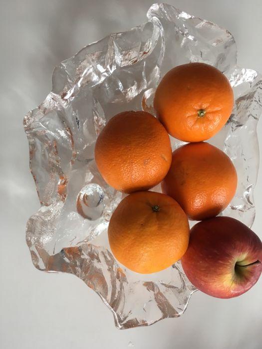 ART Glas, bol fructiera Franta anii 70 Ice Glass cristal crystal greu
