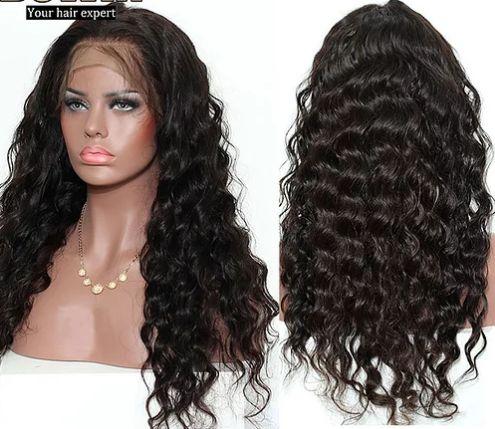 Peruca front lace de cabelo humano, Onda Solta 18 Polegadas