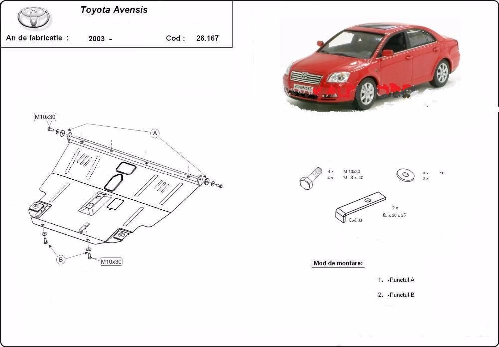 Scut metalic pentru motor Toyota Avensis 2003-2008 - otel 2mm