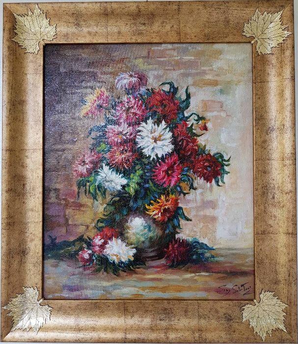 """Маслена картина """"Ваза с цветя"""" италиански художник"""