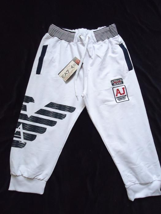 Bermude barbati buzunare pantaloni trei sferturi bleumarin albe rosii
