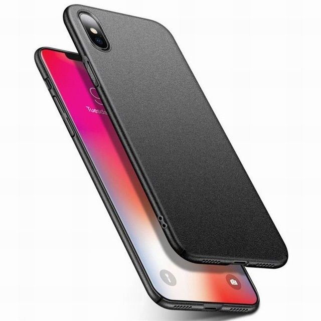 Iphone X 10 - Husa Din Plastic Ultra Slim Mata Neagra, Alba