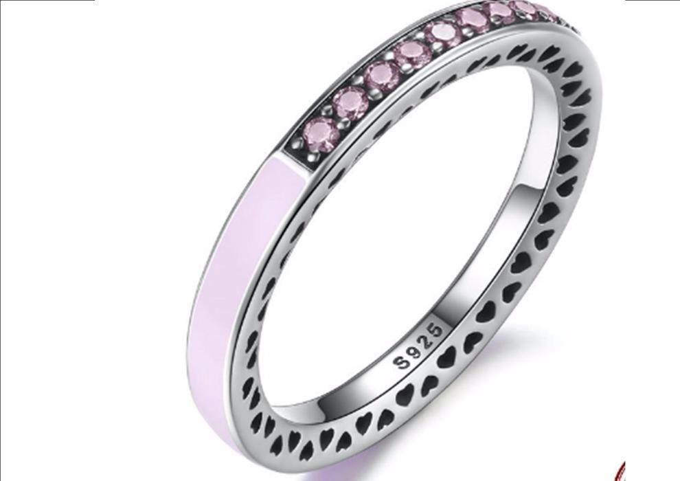 Inel argint inimi radiante roz, alb, mov deschis, tip Pandora