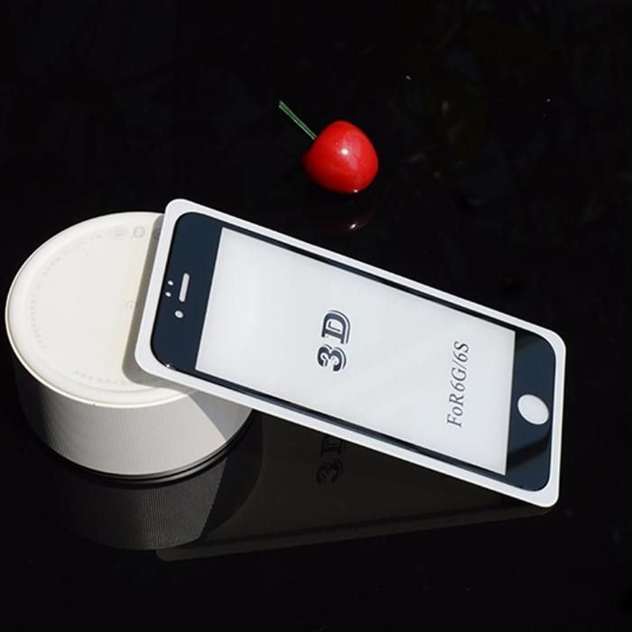 Folie Sticla Iphone 6 6S Plus Securizata 3D Sticla Total Alb/Negru