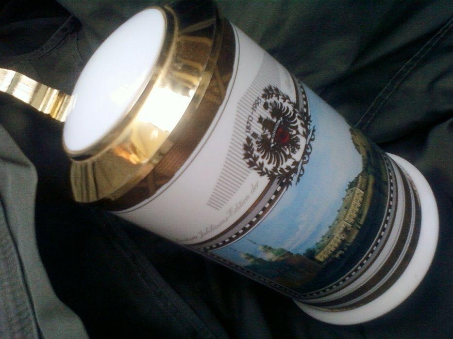 Кружка большая для пива фарфоровая с позолоченной крышкой Германия