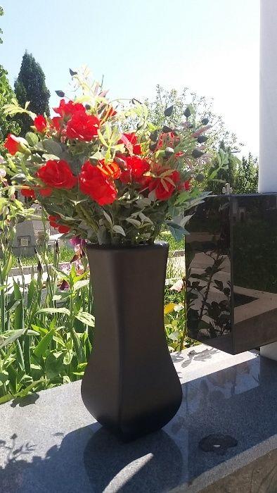 Vaza (suport) flori cimitir , aluminiu , negru mat