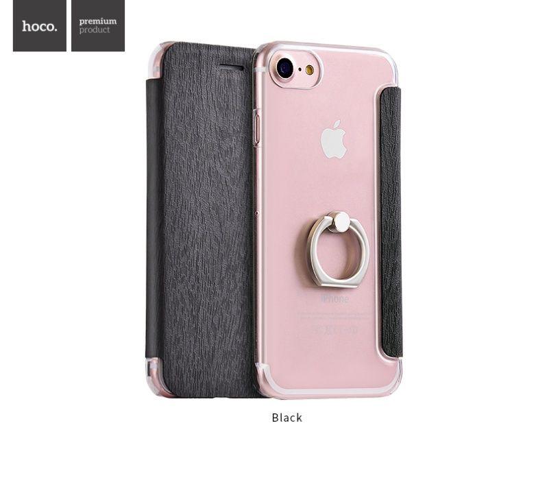Husa slim Hoco, iPhone 7 / 8, book,spate transparent cu inel sustinere
