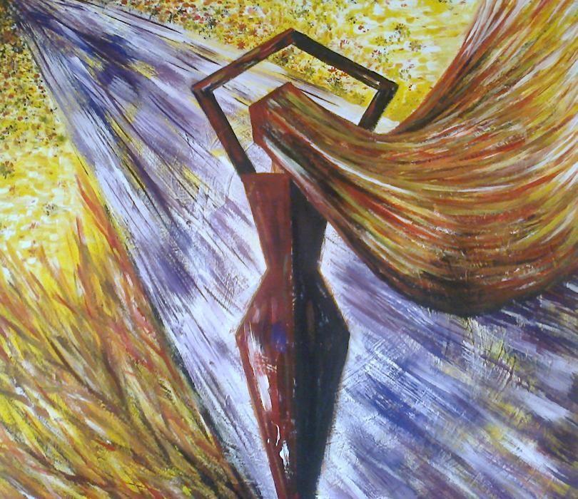"""Pictura - """"Femeie puternica in viscolul vietii"""", acril, 94 x 94cm"""