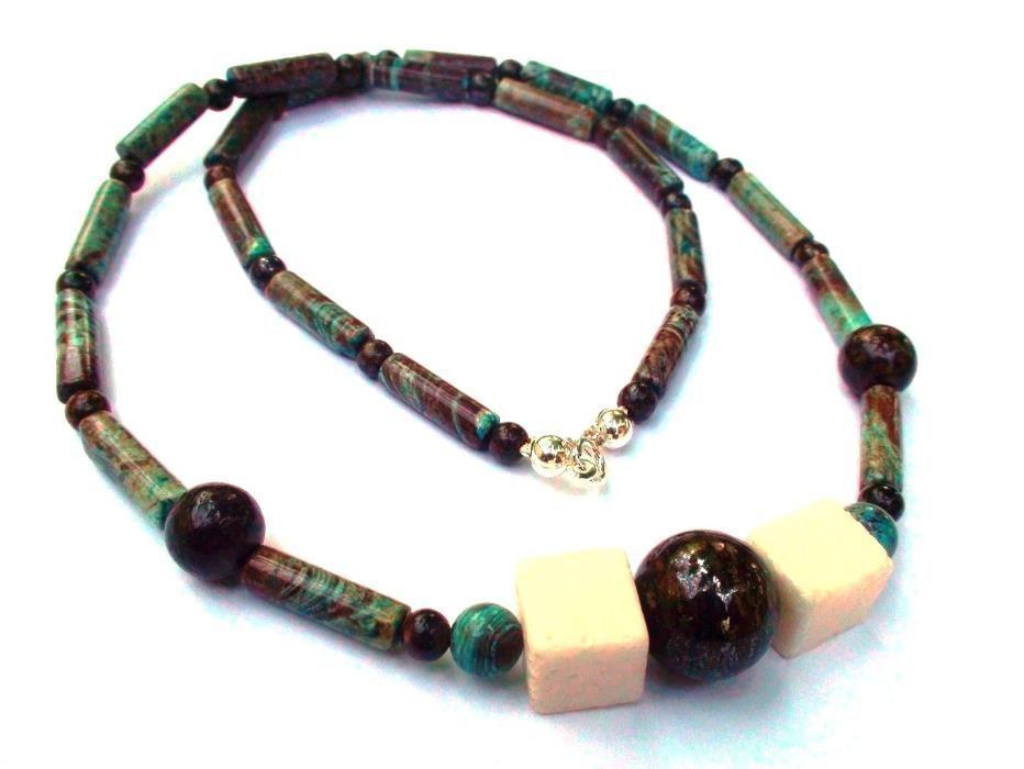 Colier barbati / unisex – Calsilica, bronzit, coral - colier casual