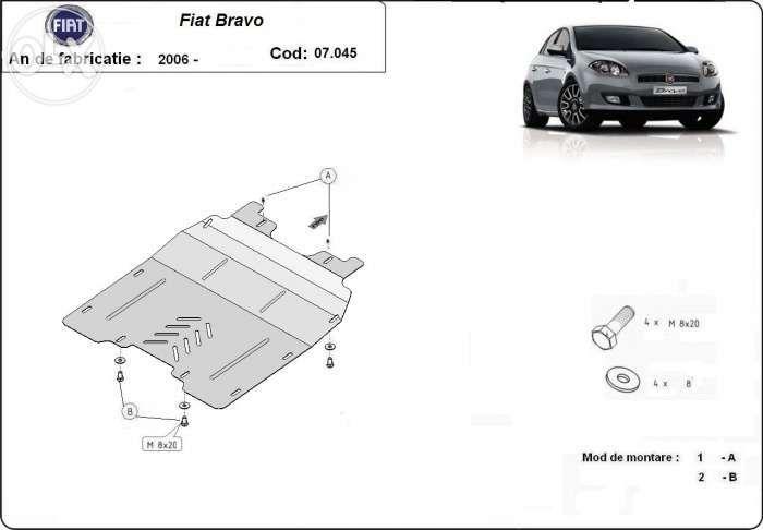 Scut metalic pentru motor Fiat Bravo 2006-prezent - otel 2mm