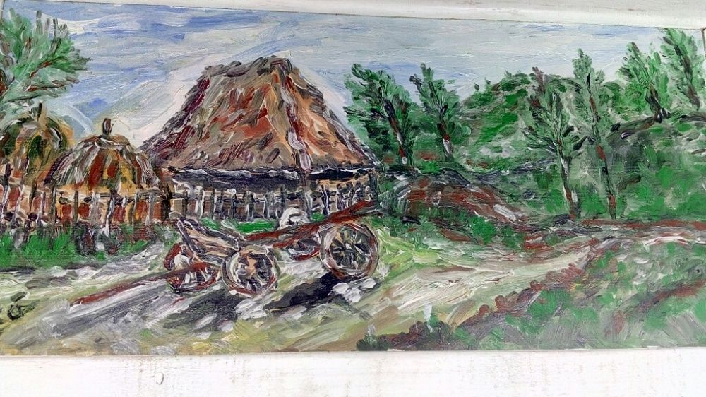 Carul in satul românesc pictura in ulei de colecție