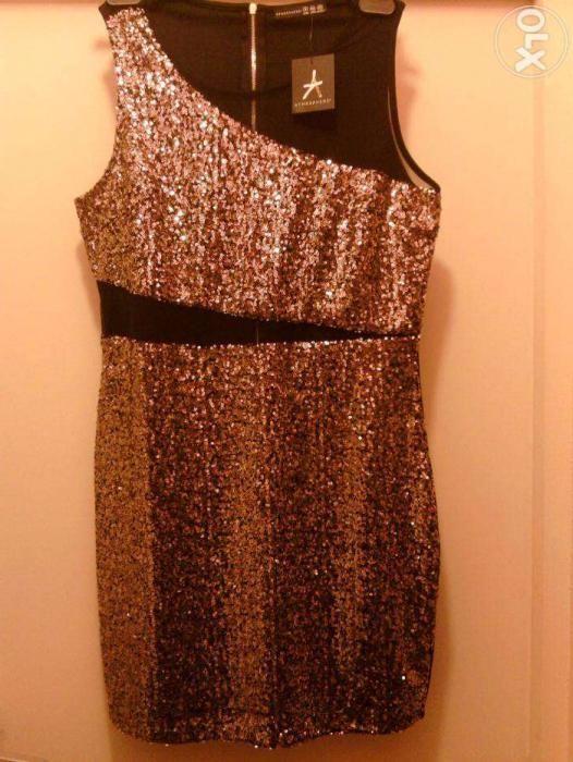 Rochie noua paiete aurii Atmosphere, rochie de seara, rochie de efect